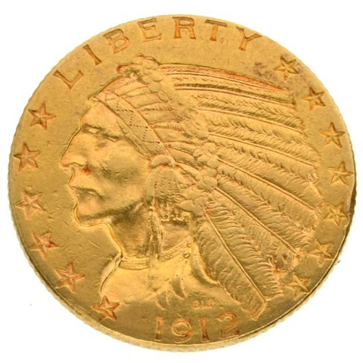 1912 $5 U.S Liberty Head Gold Coin - Investment