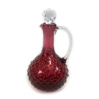 Cranberry Hobnail Cruet