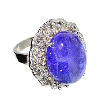 APP: 11k 14kt White Gold, 16CT Tanzanite & Diamond Ring