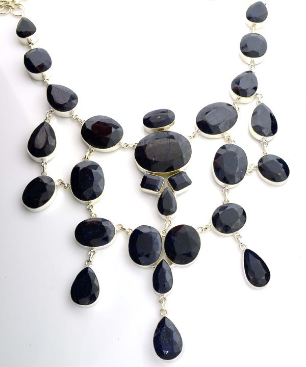 APP: 50k 781CT  Mixed Cut Sapphire & Silver Necklace