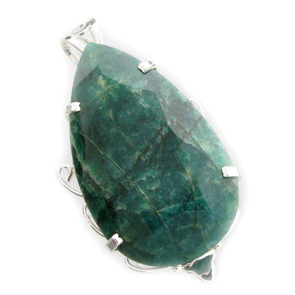 APP: 23k 387CT  Pear Cut Emerald & Sterl Silver Pendant