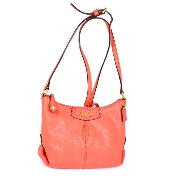 New Coach Ashley Tearose Orange Leather Shoulder Bag