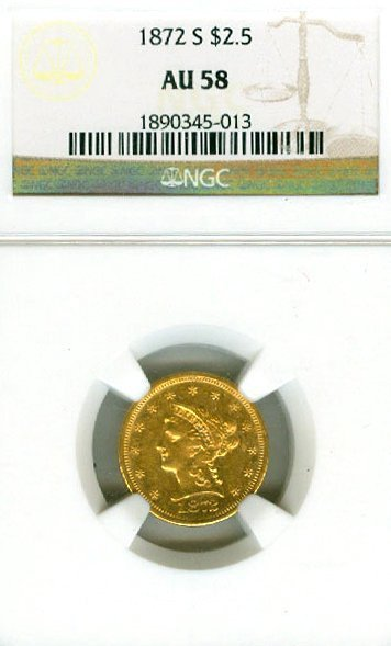*1872 -S $2.50 U.S. Liberty NGC Gold Coin - Investment