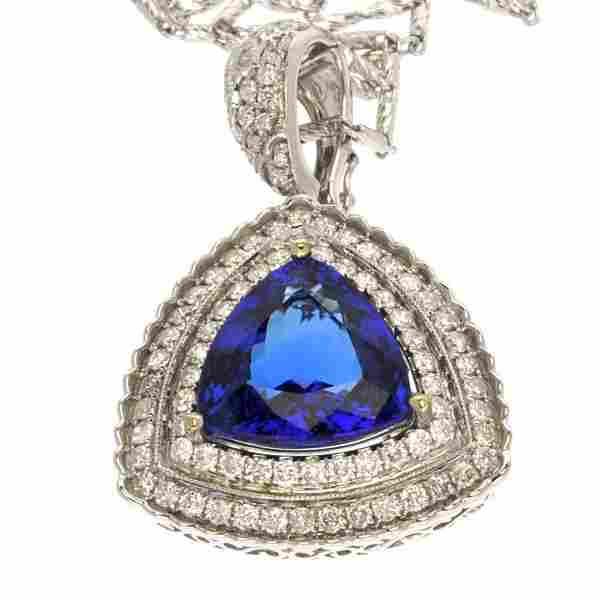 APP: 38k *14kt Wt Gld, Tanzanite & 2CT Diamond Pendant