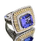 APP 32k 14kt Wt Gld 7CT Tanzanite  3CT Diamond Ring