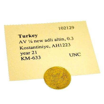 Turkey, Kostantiniye, AH 1223 year 21 Ancient Gold Coin