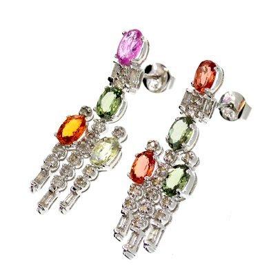 APP: 8k 14kt White Gold 4CT Sapphire & Diamond Earrings