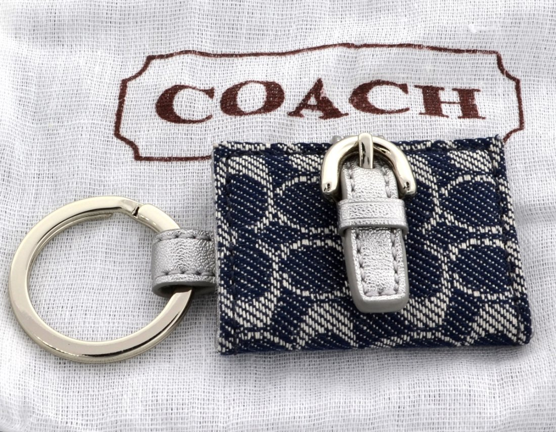 New Coach Signature Photo Frame Silv /Metallic Key Fob
