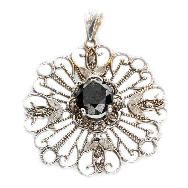 APP: 9k 14kt White Gold 4CT Round Black Diamond Pendant