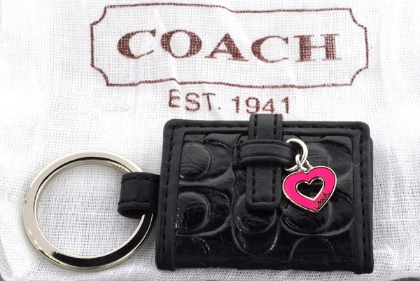 New Coach Signature Picture Frame Heart Black Key Fob