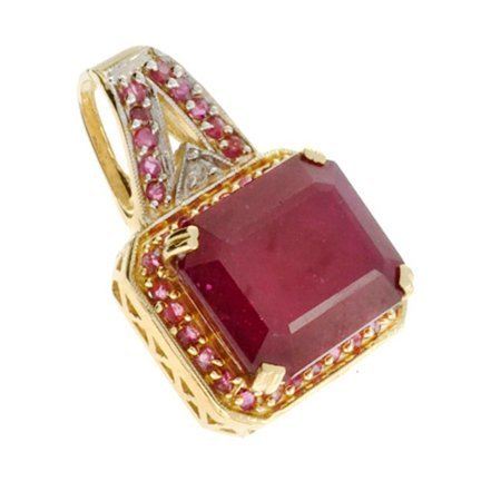 APP: 27k 14kt Yellow & White Gold, 46.61CT Ruby Pendant