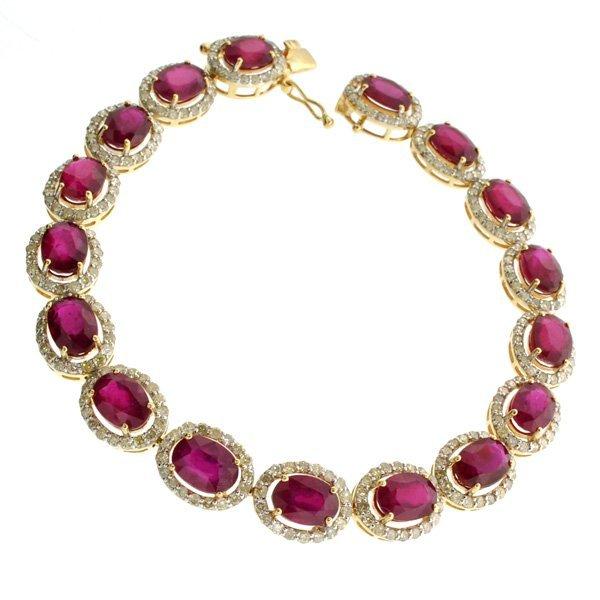 APP: 14k *14 kt Gold 22CT Mixed Ruby & Diamond Bracelet