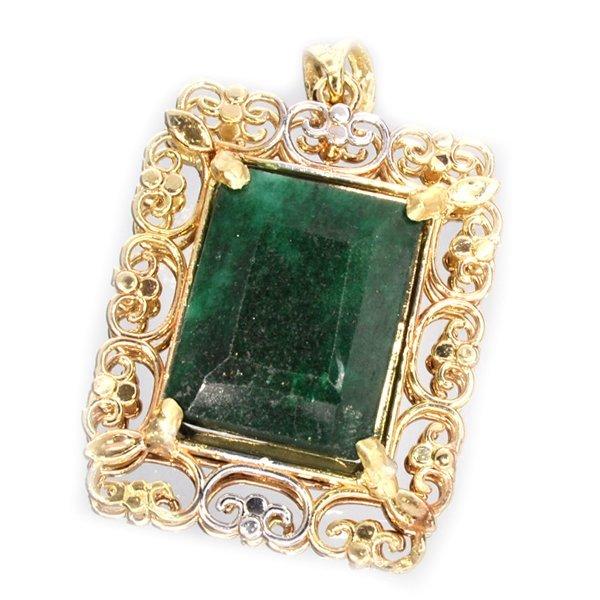 APP: 10k 14kt White & Yellow Gold 15CT Emerald Pendant