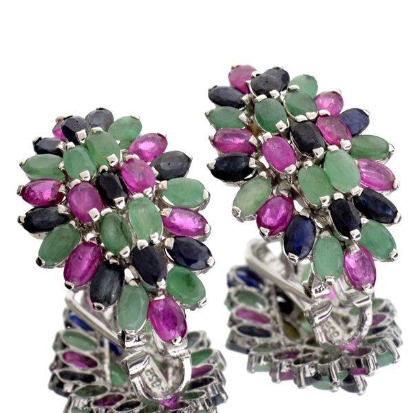 APP: 3k 12CT Multi Precious Gemstone & Silver Earrings