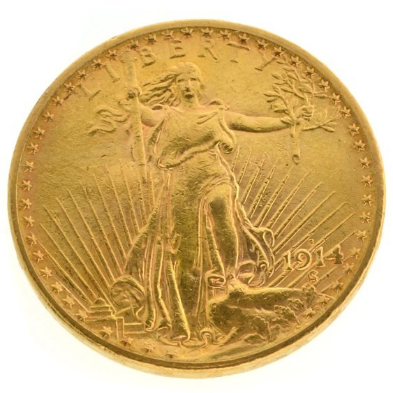 *1914-S $20 U.S Saint Gaudens Gold Coin - Investment