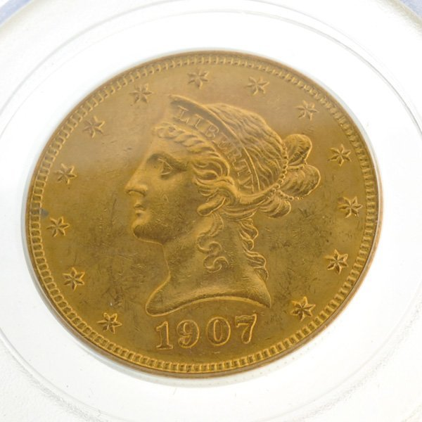 *1907 $10 U.S MS60 Liberty Head Type Gold Coin