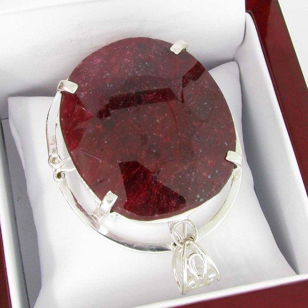 APP: 17k Sebastian 410CT Oval Cut Ruby & Silver Pendant