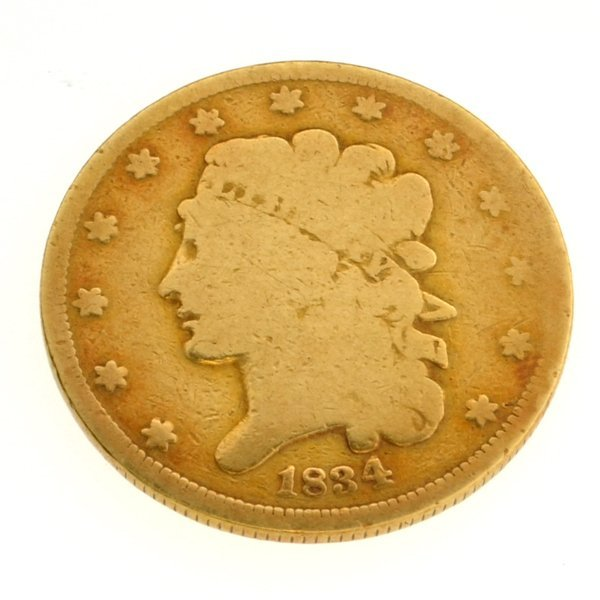 1834 $5 U.S Classic Head Type Gold Coin - Investment