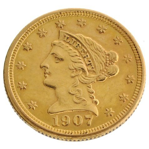 1907 $2.5 US Liberty Head Gold Coin - Investment