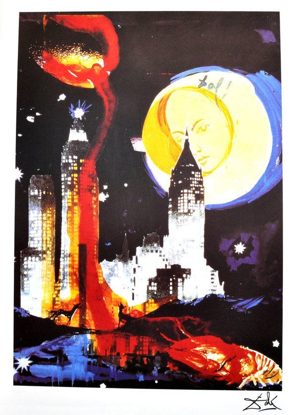 SALVADOR DALI Manhattan Skyline Print, Limited Edition