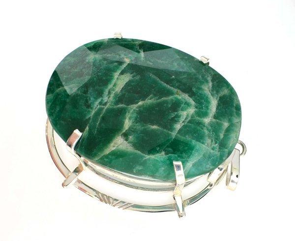 APP: 15k Sebastian 459CT Oval Emerald & Silver Pendant
