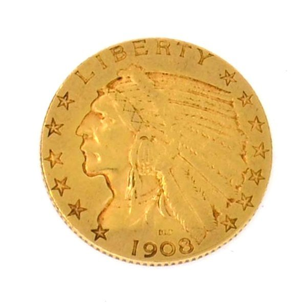 1908-D $ 5 U.S Indian Head Gold Coin - Investment