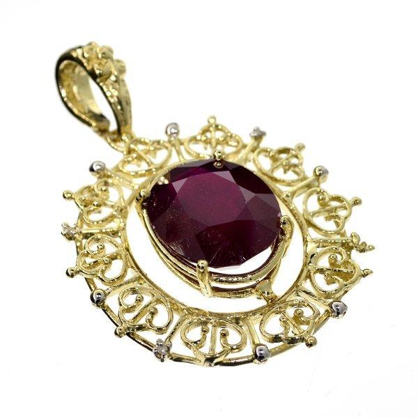 APP: 22k 14kt Gold, 21CT Oval Ruby & Diamond Pendant