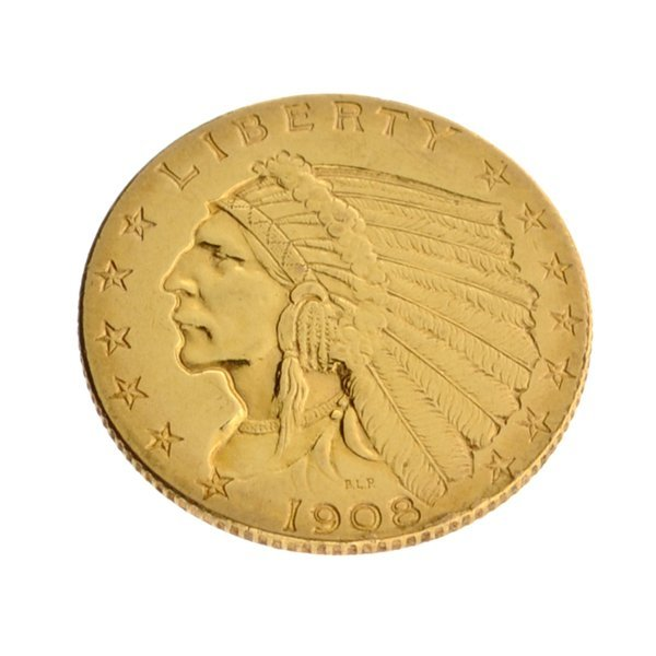 1908 $2.50 U.S. Indian Head Type Gold Coin - Investment
