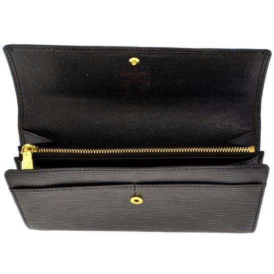Authentic Louis Vuitton Black Epi Sarah Long Wallet