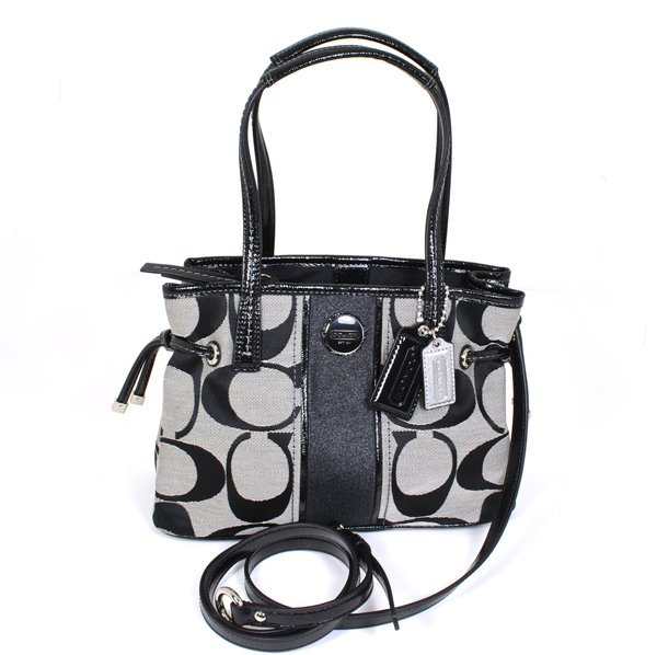 New Coach Signature Stripe Black Mini Carryall Bag