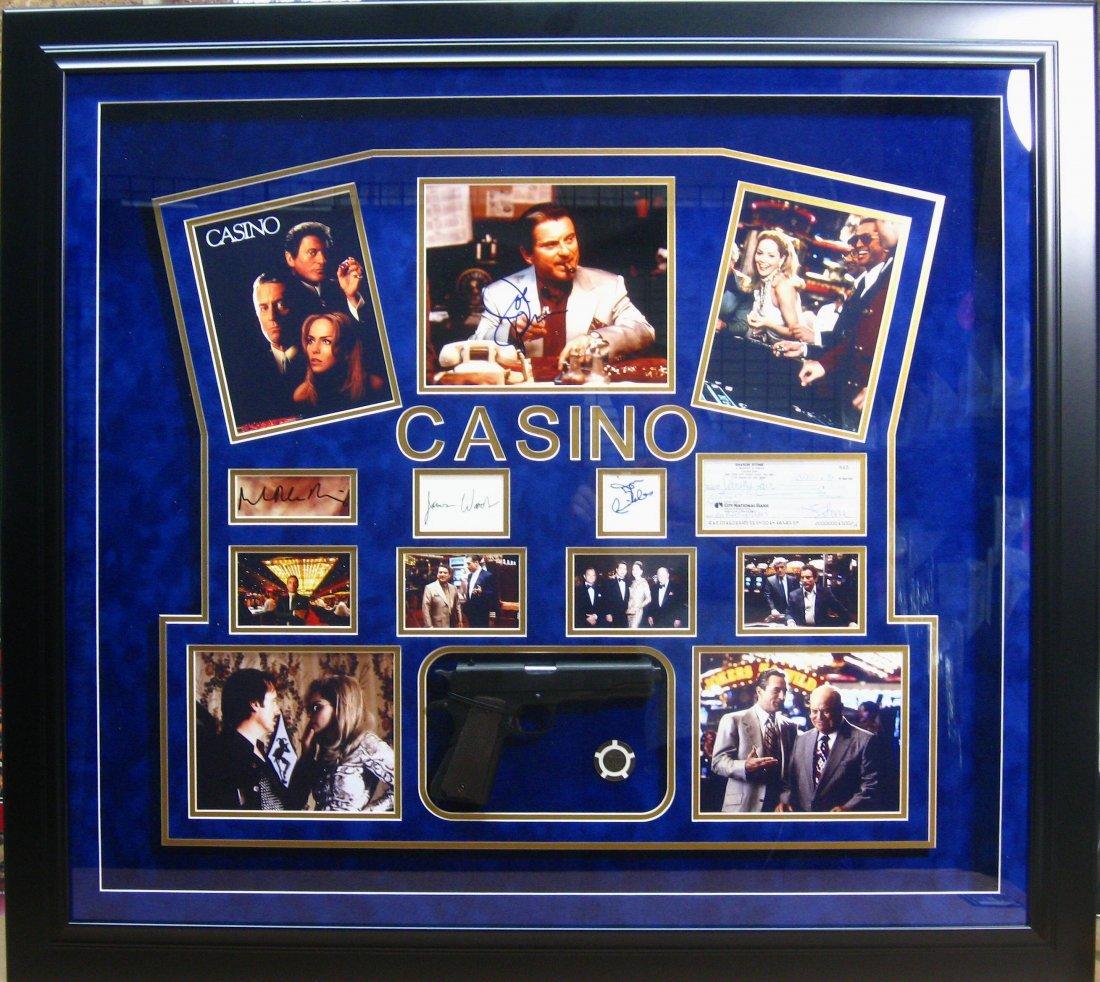 Casino Shadowbox w/ Replica Gun - Authentic Signatures