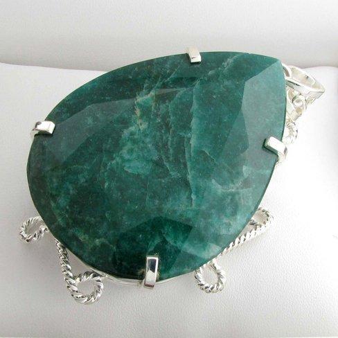 APP: 15k Sebastian 452CT Pear Emerald & Silver Pendant