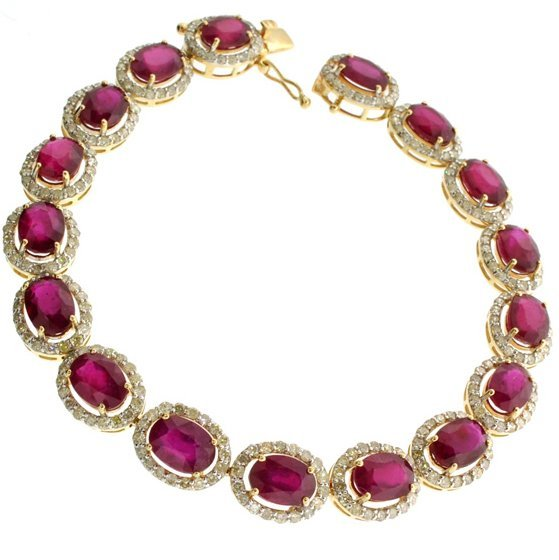 APP: 14k *14 kt Gold 22CT Mixed Ruby & Diamond Bracelet