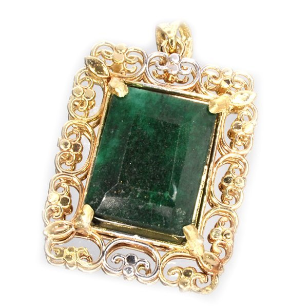 APP: 10k 14kt White & Yellow Gold 15CT Emerald Pendant