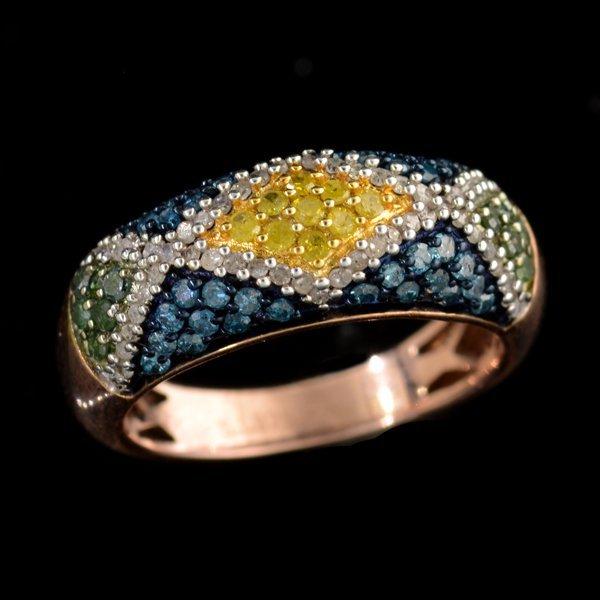 APP: 3k 1CT  Round Cut Diamond 14kt. Rose Silver Ring