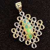 APP: 3k 14kt Yellow & White Gold, 2CT Opal Pendant