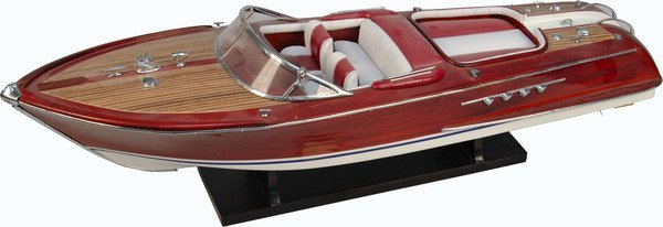 Hand-Crafted Wooden Aquarama Static Model Speedboat