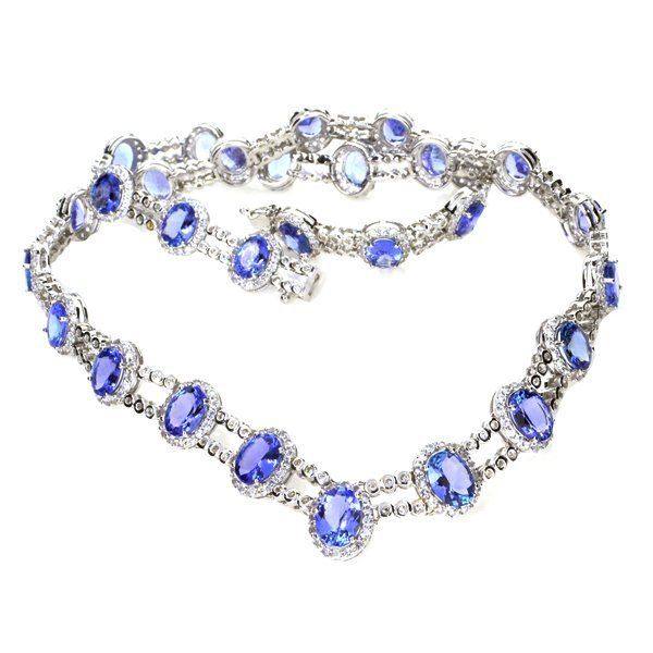 APP: 38k 38CT Tanzanite & Sapphire 14kt Silver Necklace