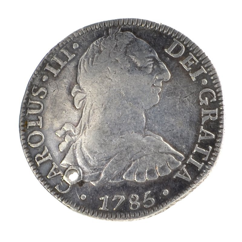 1785 Eight Reales American First Silver Dollar Coin
