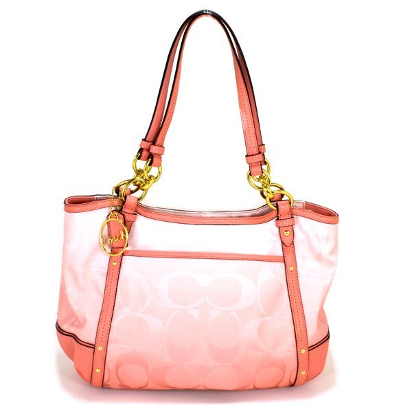 New Coach Alejandra Signature Ombre Chain Peach Handbag