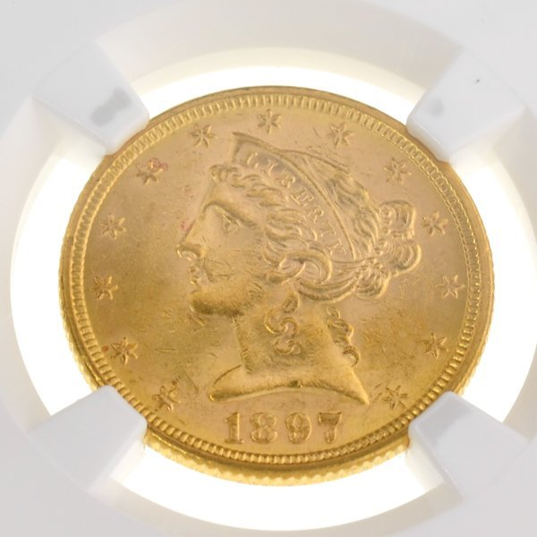 *1897 $5 U.S Liberty Head Type Gold Coin - Investment