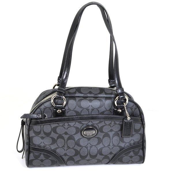 Authentic Coach Peyton Satchel Black/Grey Handbag
