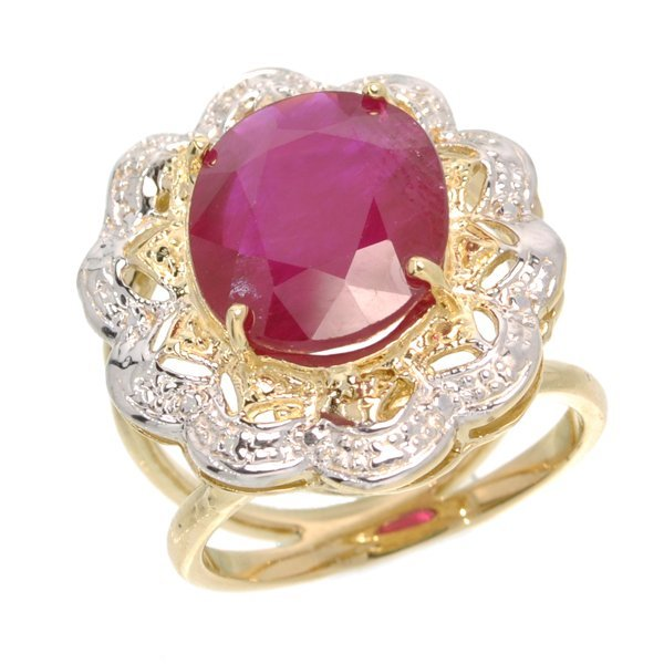 APP: 9k 14kt Yellow & White Gold, 7CT Oval Ruby Ring