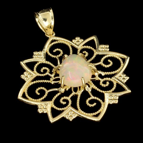 APP: 3k 14kt Gold, 2CT Pear Crystal Opal Pendant