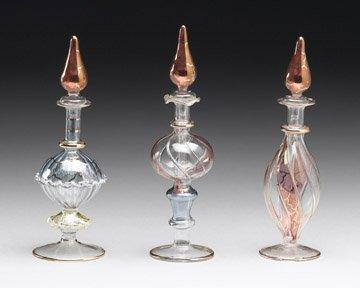 Set of 3 Glass Perfume Bottles