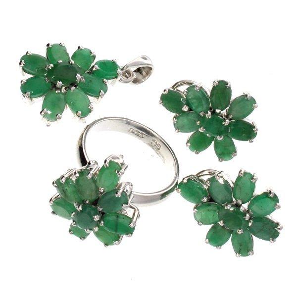 APP: 19k 13CT Emerald Silver Ring, Pendant, & Earrings