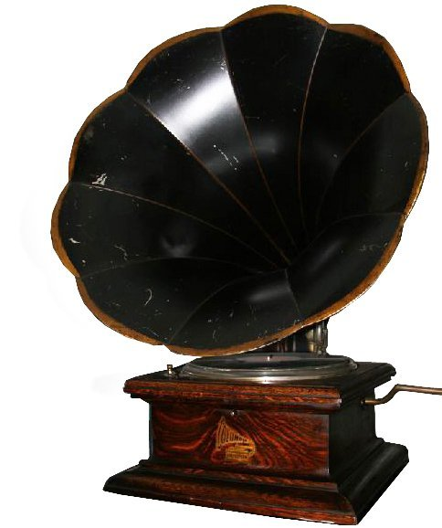 Early Large Horn Phonograph-Plays Perfectly -P-