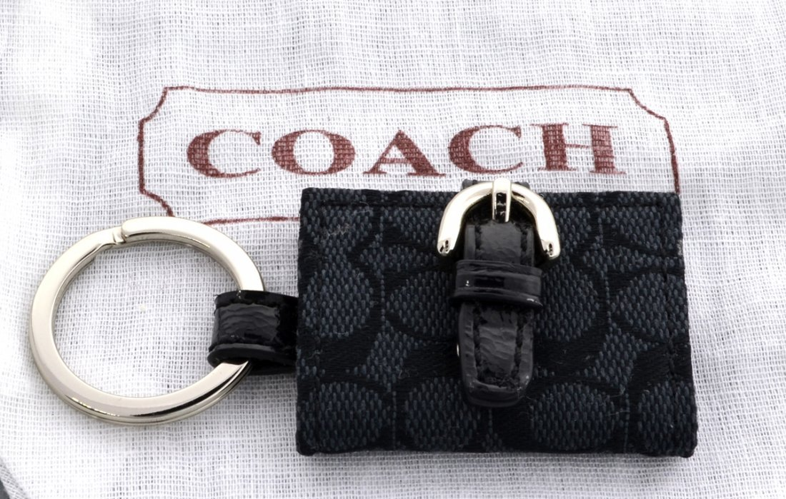 New Coach Signature Picture Frame Black Key Fob