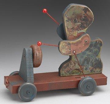 Animal Playing Drums Cart w/Wheels