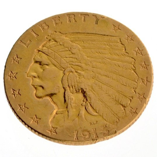 1913 $2.50 U.S. Indian Head Gold Coin - Investment